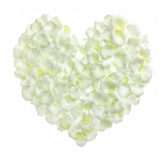 500 luxe witte rozenblaadjes van stof