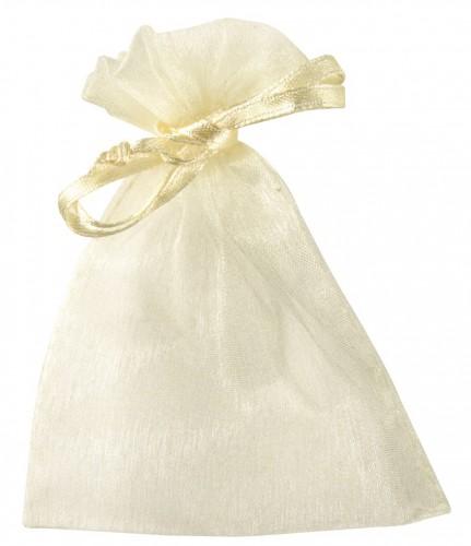 Creme bruiloft zakjes van organza