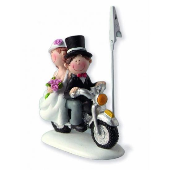 Kaarthouder bruidspaar op motor