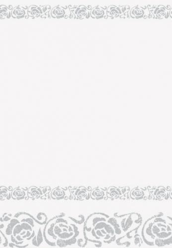 Papieren tafelkleed wit met zilver