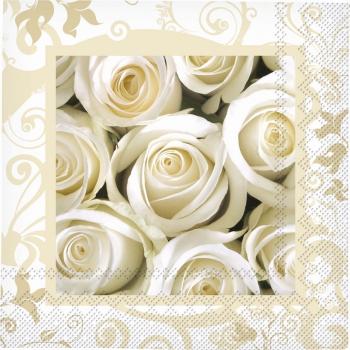 Witte roos servetten 33 x 33 cm