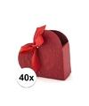 40x bruiloft kado doosjes rood hart