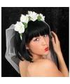Bruid tiara met bloemen en sluier